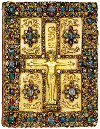 **Bejewelled Anglo-Saxon Bookcover with Rood**