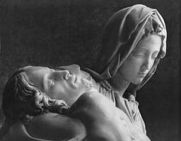 The head and shoulders of Michaelangelo's Pieta, Jesus laid back on her shoulder