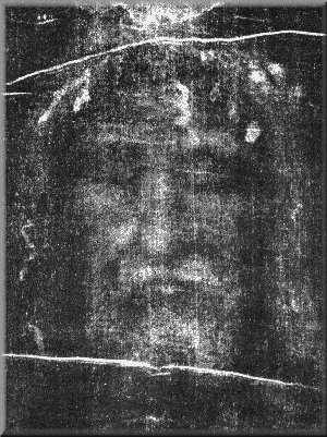 The reverse image of the face in The Shroud of Turin